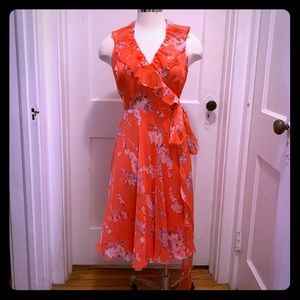 Ralph Lauren Flowing Pink Floral Midi Wrap Dress